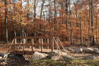 A wooden bridge in the natural burial section