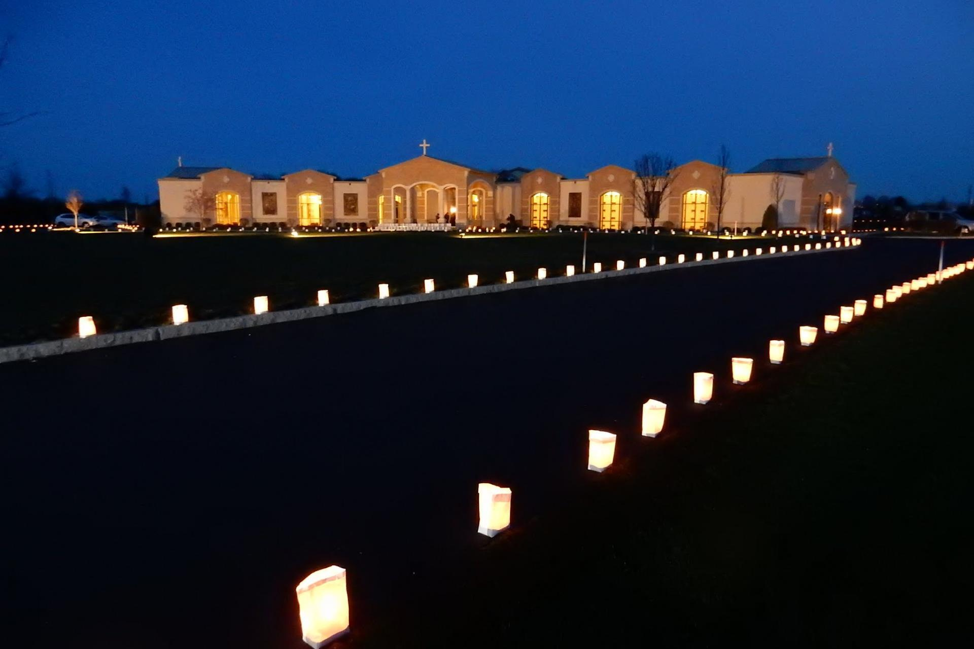 Holy Rosary cremation garden with lanterns
